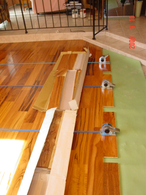 Hardwood Floor Tarkett Tigerwood Engineered - Strapping as it's glued